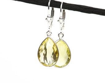 Lemon Quartz Earrings, Natural Gemstone Lite Green Earrings