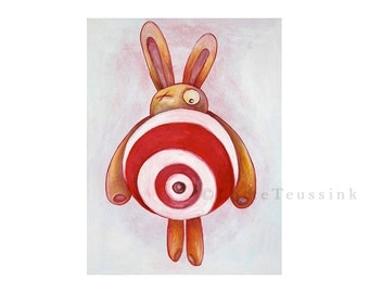 Target Bunny art card, rabbit painting by Lotte Teussink, Easter card, greeting card, fantasy animal, pop surrealism, surreal lowbrow art