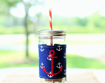 Nautical Mason Jar Tumbler | Anchor Tumbler | Anchor | Nautical | Mason Jar Cup | Personalized Tumbler | Custom Mason Jar