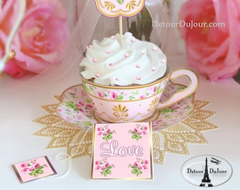 Bridal Shower Favors Tea Cup Cupcake Wrappers Printable Cupcake Wrappers Cupcake Holders Cupcake Wraps Cucpake Sleeves Wedding Cupcake Wraps