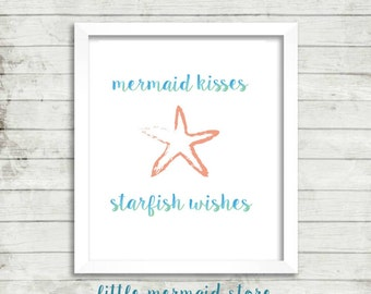 Mermaid Wishes Starfish Wishes Printable, Instant Download