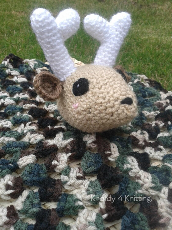 Crochet Baby Deer Pattern : Crochet Deer Lovey Blanket Camo Baby Blanket Baby Deer