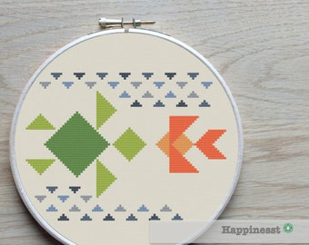 Cross stitch pattern turtle and fish, tangram, modern cross stitch,  PDF ** instant download**