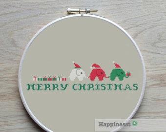 christmas cross stitch pattern elephants, merry christmas, modern cross stitch, PDF, ** instant download**