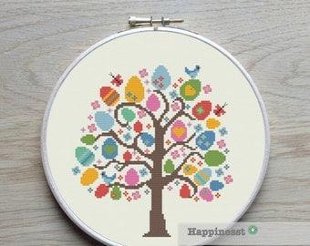 cross stitch pattern easter tree, modern cross stitch, PDF pattern ** instant download**