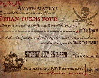 Pirate Invitation Printable File/ CUSTOMIZED/ PERSONALIZED