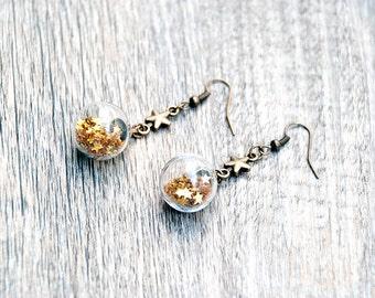 Glass globe earrings, golden stars earrings, glass orb, cute earrings, glass vial