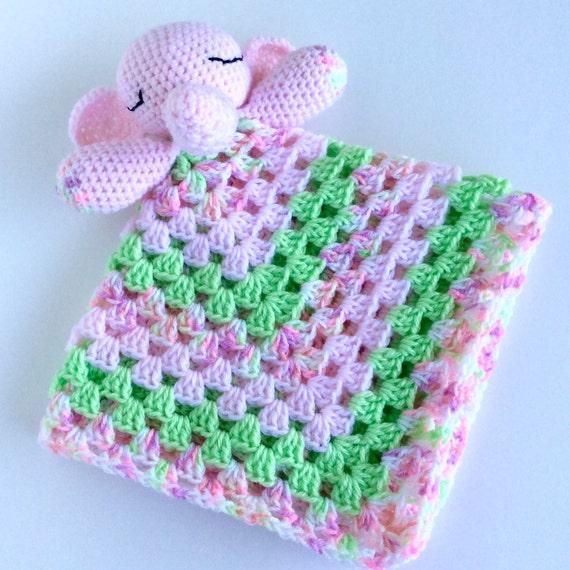 Amigurumi Elephant Snuggle : Elephant Lovey Crochet Snuggle Security by LoopyChicCrochet