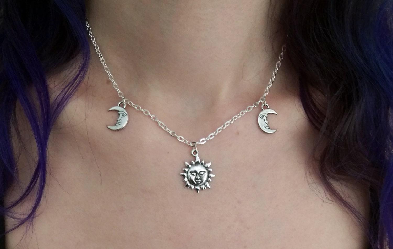 Sun and moon chain choker charm choker choker necklace