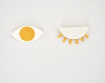 DECLINE of ŒIL, 3D printed eye brooch gold