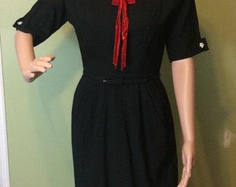 1950s Black Linen Sailor Dress w/Belt, XS-S