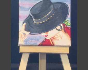 "Espanyola , Spanish Lady With Hat , Mini Acrylic Painting , 3"" x 3"" Mini Painting With Easel"