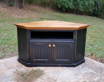 Rustic Handcrafted Corner TV Cabinet. Great Entertainment Center and Media Console with Storage and Shelf