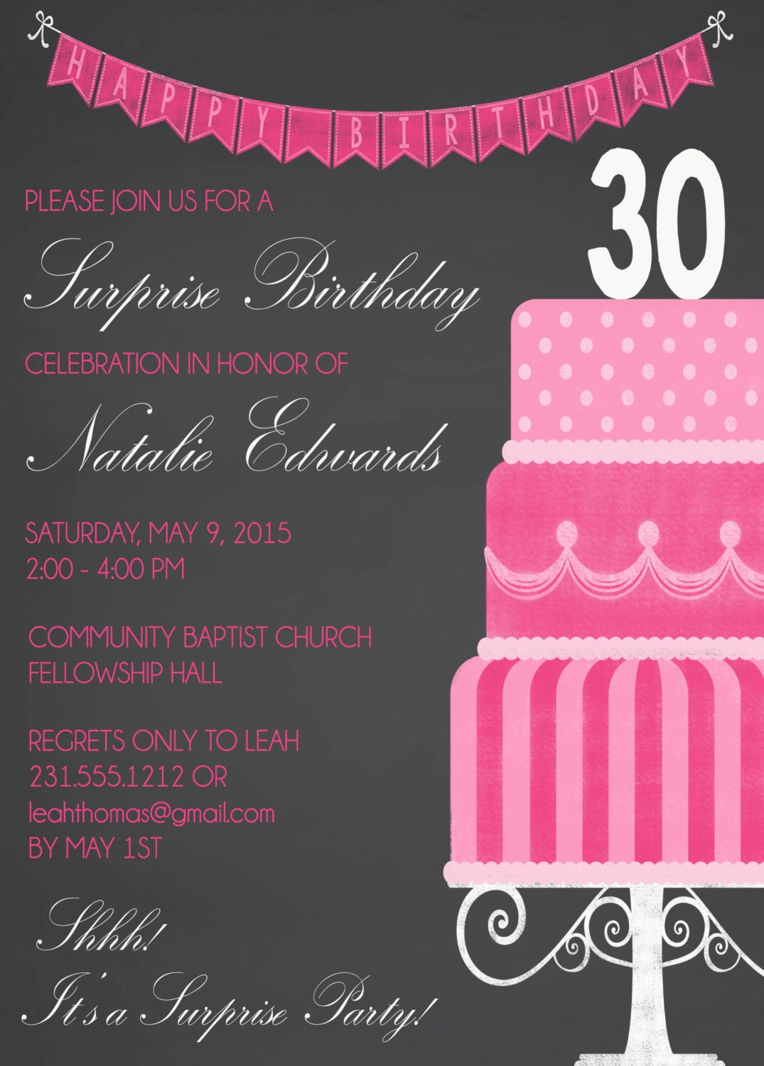 chalkboard 30th birthday invitation for women 39 s surprise. Black Bedroom Furniture Sets. Home Design Ideas