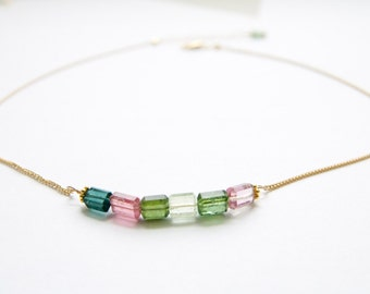 Dainty Tourmaline Gemstone Necklace Handcrafted by Bare and Me/ Layered Tourmaline Necklace/ Bright and Colorful Gemstone Everyday Necklace