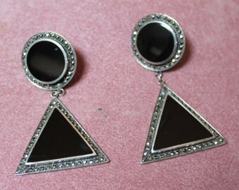 Sterling Silver, Onyx and Marcasite Art Deco Drop Earrings