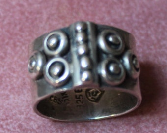 Vintage, Mexican Sterling Silver Ring, Artist Signed