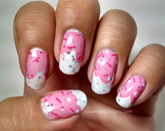 Strawberry Frosting - Water Slide Nail Decals