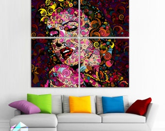 """MARILYN MONROE 4 Panels HUGE 40""""x 40"""" Original Art Canvas Print Limited Edition this 20/5000  Wall home (Included framed 1.5"""" depth)"""