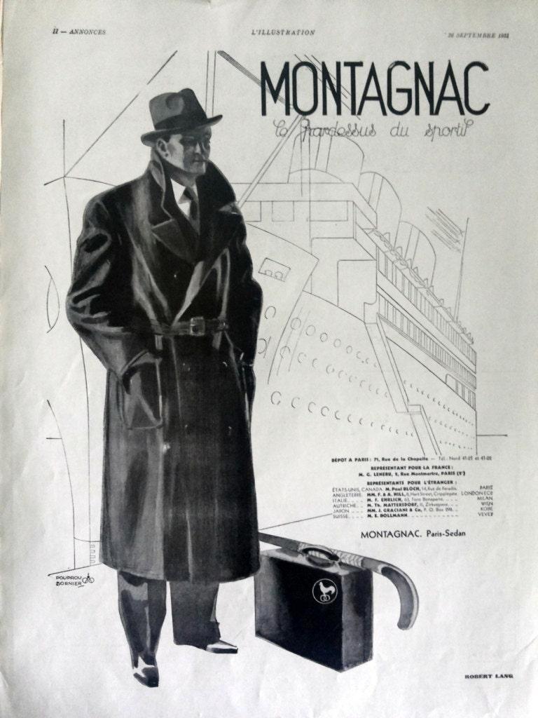 MONTAGNAC pardessus men overcoat vintage advertising fashion