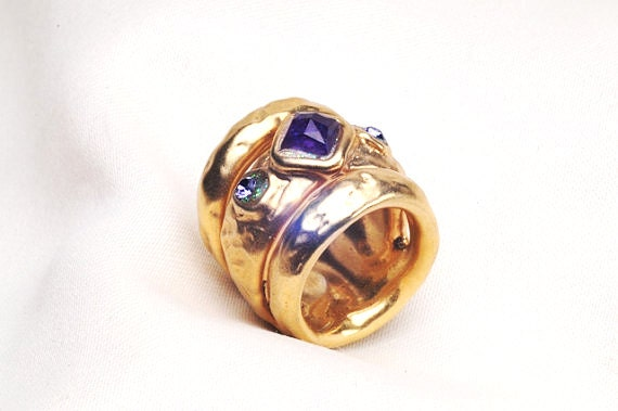 wide gold band ring purple amethyst ring gold stone ring
