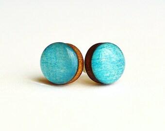 boho wood earrings , small earring posts , tiny stud earrings ,