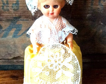 Vintage Antique Estate Miniature Souvenir of Bruxelles Doll with Movable Eyes Yellow and Lace Dress