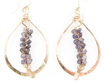 Woven Iolite Quill Earrings