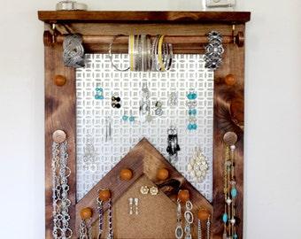 Large Jewelry Organizer / Jewelry Holder / Jewelry Rack / Jewelry Display  Wall Hanging Shelf