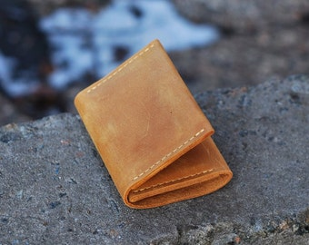 Genuine leather handmade wallet, small wallet from genuine leather, wallet for men, W009