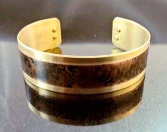Narrow Brass Mottled Design Cuff