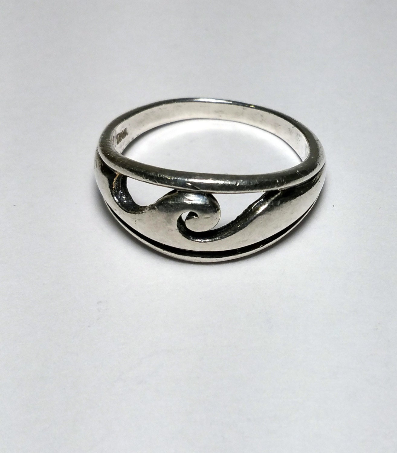 wave ring sterling silver wide ring size 10 by