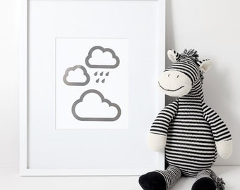 Silver Foil Print – 3 Clouds with Silver Lining and Raindrops - 8x10 - Modern - Children's Room - Nursery
