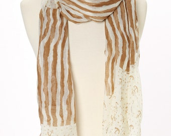 Brown & White Anchor print Oblong Scarf, Handmade Scarf, Oblong, Crush Scarf, Eternity Scarf, Spring Summer, Infinity Scarf