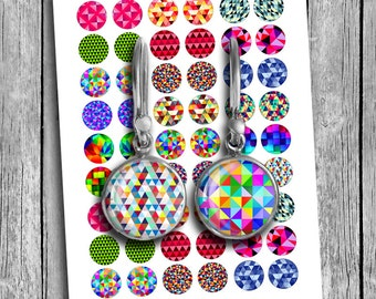 Geometric Abstract images for Earrings 10mm 18mm 16mm 14mm 12mm Mirror Images Printable Images Digital Collage Sheet - Instant Download