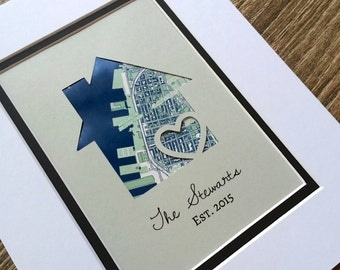 Personalized Home Map Matted Gift- First Home Gift- New House Housewarming Gift- First Anniversary or Wedding Gift- Paper 1st Anniversary