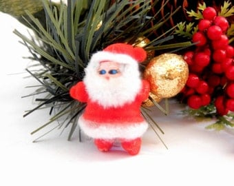 Santa Claus Christmas Decoration Miniature Figurine Flocked Plastic Red and White Vintage 1950's Retro Kitsch Craft Supply