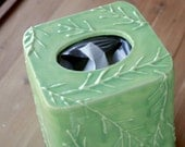 Tissue Box Cover, Mantis Green, SALE Leaves and Stems, Peridot, Forest Leaves, Tree Branches, Bamboo, Handmade Pottery, Lime