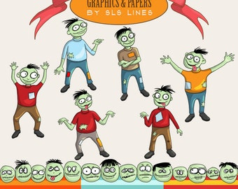 Digital Clipart Zombies Halloween Monsters Zombie Clip art instant download, commercial use, whimsical walking dead graphic set