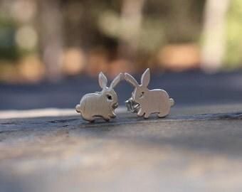 Bunny post earrings, sterling silver bunny rabbit earrings
