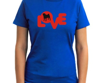 Love Silhouette Pug Women T-Shirt