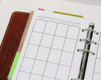 Personal Month-on-Two-Pages Planner {Sunday or Monday Start} PRINTED & PUNCHED - Filofax