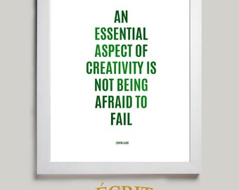 Inspirational Print, Creativity, Don't be Afraid of Failure, Edwin Land Quote Print, Typographic Print, Room Wall Art Poster, Wall Decor