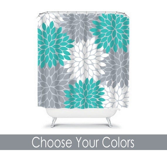Items Similar To Turquoise Gray Floral SHOWER CURTAIN Flowers Custom MONOGRAM
