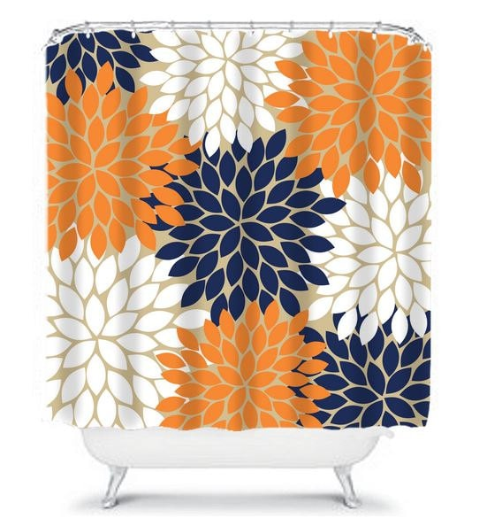 Navy Orange SHOWER CURTAIN Flower Burst By HoneyDesignStudio