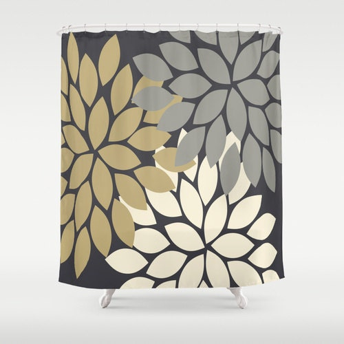 Flower Gold Gray SHOWER CURTAIN Custom MONOGRAM By TRMDesignShop
