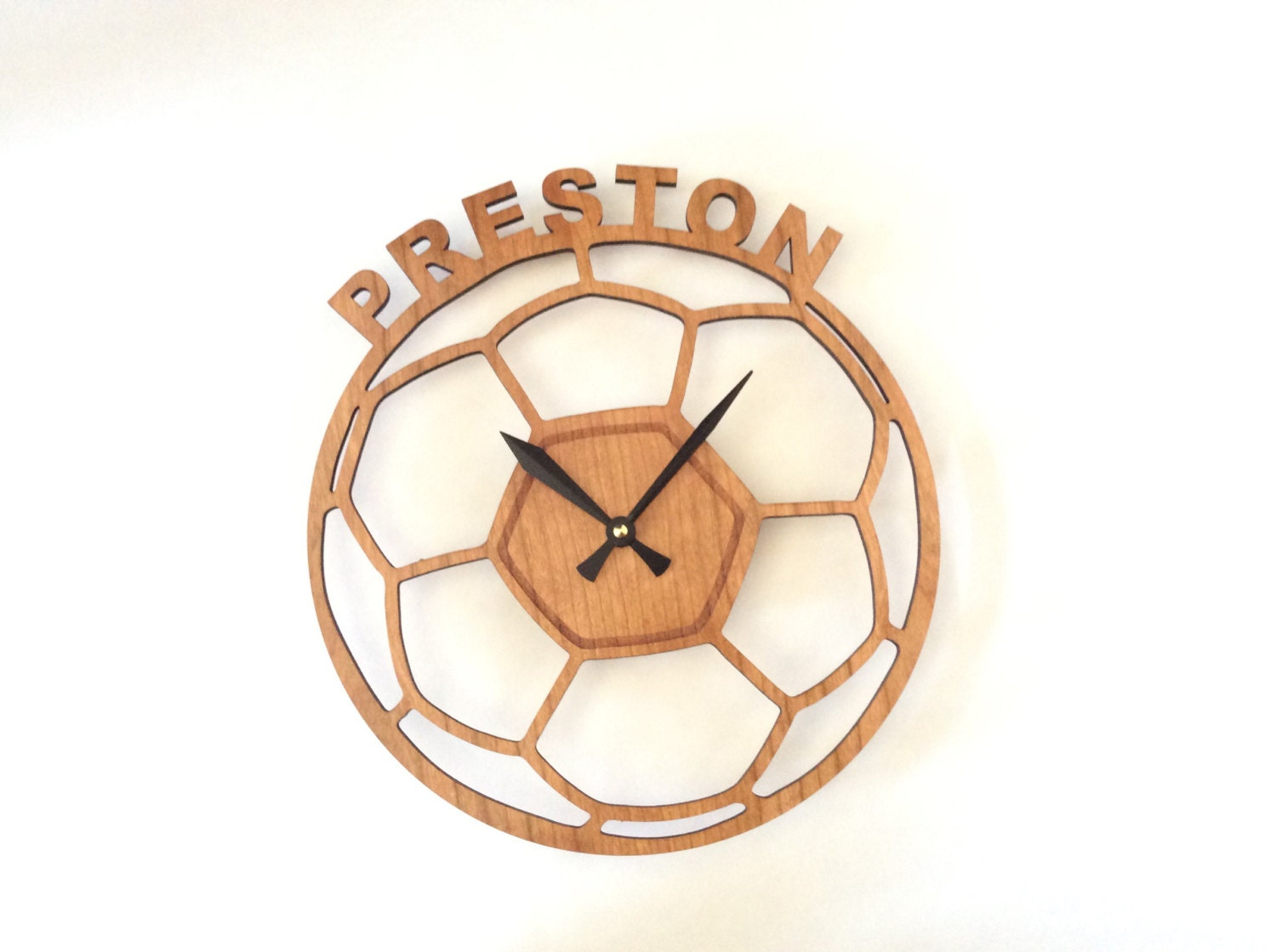 personalized wall clock kids wall clock soccer large wall. Black Bedroom Furniture Sets. Home Design Ideas