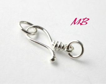 1 Set Sterling Hook and Eye Clasp, Fancy Clasp with Jump Ring