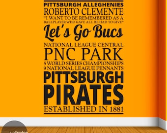 Pittsburgh Pirates Baseball Sports Subway Art Vinyl Wall Decal Sticker