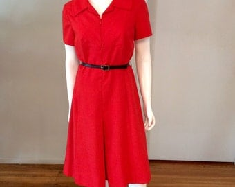 Vintage 1960's Red Nautical Linen Day Dress